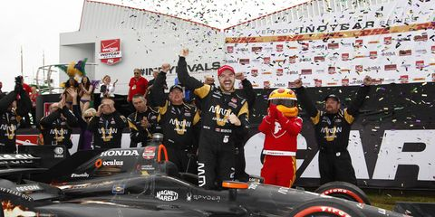 James Hinchcliffe celebrates his win in the Grand Prix of Louisiana on Sunday near New Orleans.