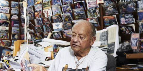NASCAR superfan Joe Baumann has been to more than 1,000 NASCAR Cup Series races. A carpet store he owns in Erie, Pa., houses many of the treasures he's picked up along the journey.