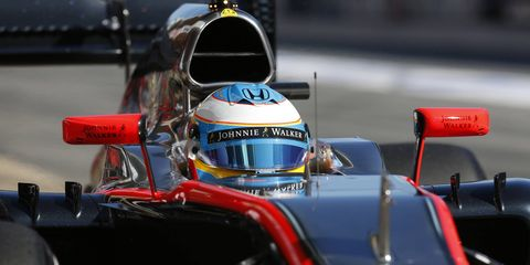 Fernando Alonso, shown here on Feb. 22, suffered a concussion when his McLaren-Honda car hit the wall during a test session in Barcelona.
