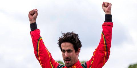 Lucas di Grassi celebrates his Formula E win in Paris on Saturday.