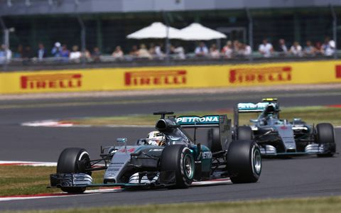 Images from Lewis Hamilton's victory for Mercedes at Silverstone on Sunday.