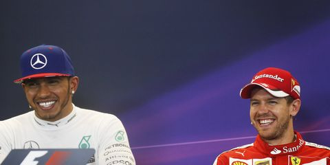 Lewis Hamilton and Sebastian Vettel are all smiles.