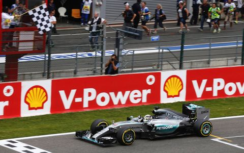 Lewis Hamilton continued his Formula One dominance with a win at Spa on Sunday. Mercedes teammate Nico Rosberg finished second. Sebastian Vettel, who is third in the points, suffered a blown tire late and fell out of the points and virtually out of the championship chase.
