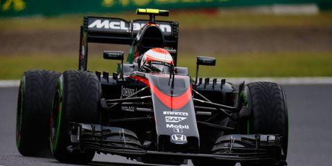 Jenson Button puts in practice laps at Suzuka, Japan, on Friday.