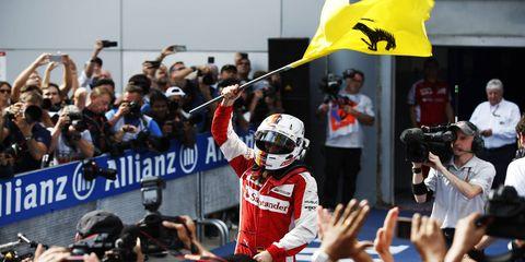Sebastian Vettel was emotional after his first win as a Ferrari driver.