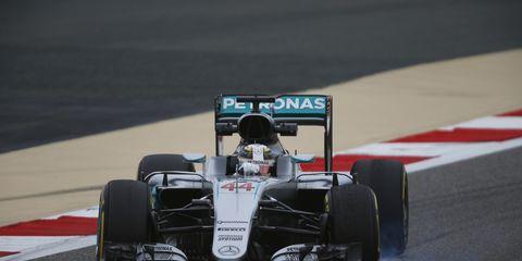 Lewis Hamilton won the pole Saturday for Sunday's F1 race in Bahrain.