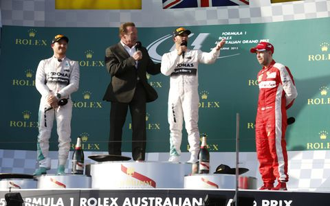 Lewis Hamilton was joined on the podium by Nico Rosberg and Sebastian Vettel..
