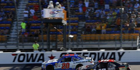 Ryan Preece held off Kyle Benjamin in a green-white checkered finish.