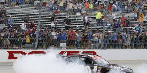 Erik Jones won Saturday's NASCAR Xfinity race at Dover.