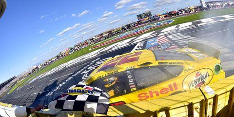Joey Logano won Sunday's NASCAR Sprint Cup race at Charlotte.