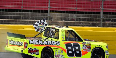 Matt Crafton outraced Kyle Busch by 5.748 seconds on Saturday at Charlotte Motor Speedway.