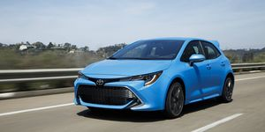 "2019 Toyota Corolla Hatchback in ""Blue Flame"" color"