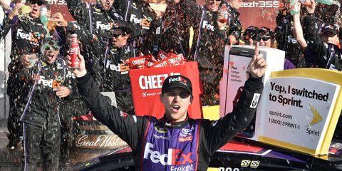 Denny Hamlin won Sunday's NASCAR Sprint Cup race at Watkins Glen.