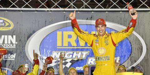 Joey Logano won Saturday night's NASCAR Sprint Cup race at Bristol.
