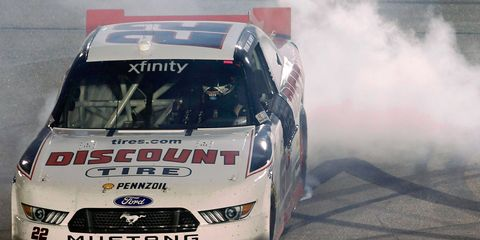 Ryan Blaney went into overtime to win at Iowa Speedway on Saturday night.
