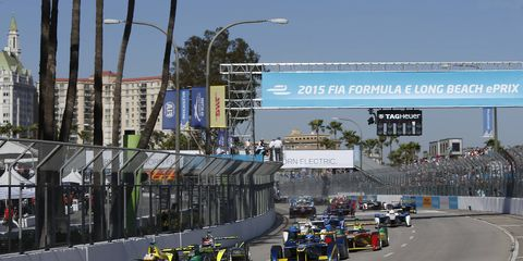 Formula E made made its first stop on the streets of Long Beach, Calif., on Saturday.