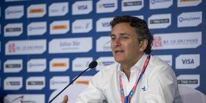 Formula E CEO Alejandro Agag addresses the media.