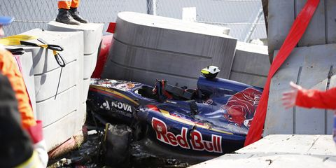 Carlos Sainz was in a horrific wreck on Saturday in practice, but was uninjured after his car smashed into a wall.