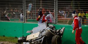 Fernando Alonso's McLaren barely resembled a car after crashing in Melbourne on Sunday.