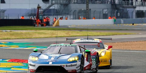 Joey Hand, Dirk Muller and Sebastien Bourdais drove the No. 66 Ford GT to the class victory at Le Mans.