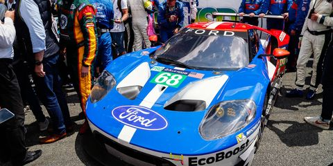 Dirk Müller, Joey Hand and Sébastian Bourdais drove the Ford GT to the win at Le Mans last year. This year, Tony Kanaan will replace the injured Bourdais.
