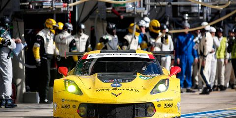 The Chevrolet Corvette C7.R of Antonio Garcia, Jan Magnussen and Ricky Taylor finished seventh in the LMGTE Pro class on Sunday at Le Mans.