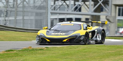 Alvaro Parente drives a McLaren 650S to the GT win on Saturday.