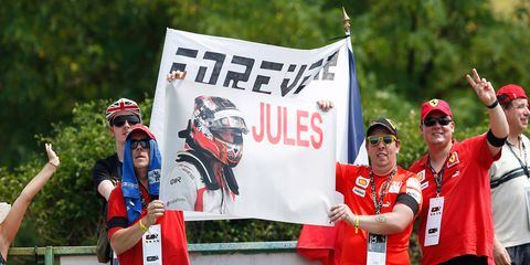Fans at the Formula One Hungarian Grand Prix celebrate the life of the late Jules Bianchi.