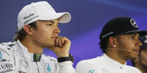 Mercedes teammates Nico Rosberg and Lewis Hamilton are battling for the Formula One championship.