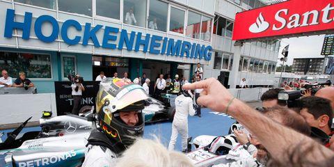Nico Rosberg celebrates his win at Hockenheim in 2014.