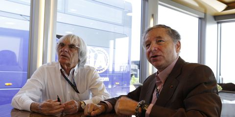Bernie Ecclestone, left, says if he has the cooperation of FIA president Jean Todt, he can fix Formula One.