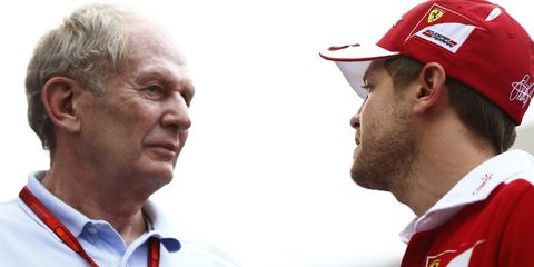 Red Bull Racing's Helmut Marko, left, thinks Ferrari and Sebastian Vettel, right, stand to gain from new F1 rules proposed for 2017.