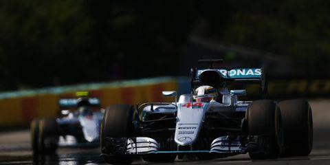 Lewis Hamilton leads teammate Nico Rosberg in Hungary.