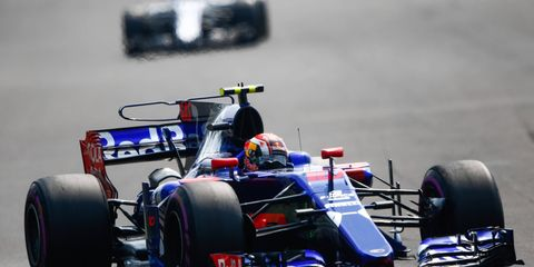Pierre Gasly, above, and teammate Brendon Hartley of Toro Rosso combined for just six laps in Friday's first F1 practice session in Brazil.