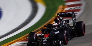 Jenson Button takes his McLaren for a test run on Friday in Singapore.