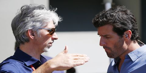 1996 Formula 1 champion Damon Hill (pictured, left) doesn't believe Lewis Hamilton would actually quit Mercedes despite a variety of controversial events this season.