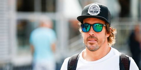 Fernando Alonso arrives at Monza for the Italian Grand Prix.