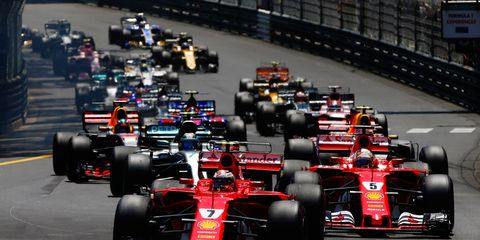 The Formula 1 field battles for position early in the recent Monaco Grand Prix.