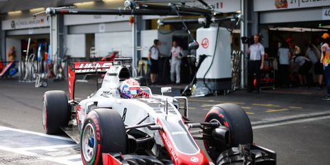 Romain Grosjean roars out of the garage for the American-led Haas F1 Team on Saturday in Azerbaijan.