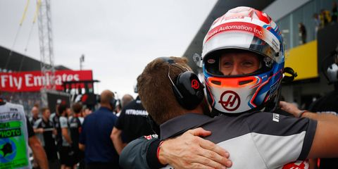 Haas F1 Team driver Romain Grosjean celebrates his best qualifying position of the season on Saturday in Suzuka, Japan.