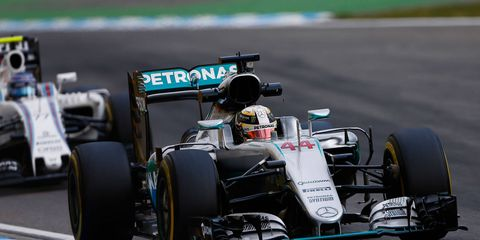 Lewis Hamilton leads the Formula 1 field into Germany on Sunday.