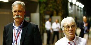 New F1 chairman Chase Carey, shown here with Bernie Ecclestone, attended his first Formula 1 race on Sunday in Singapore.