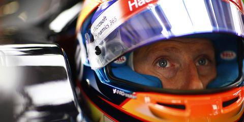 Romain Grosjean races for American team Haas F1