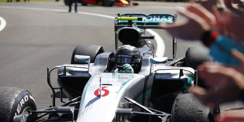 After finishing second, Nico Rosberg was demoted to third place after a post-race penalty in the British Grand Prix.