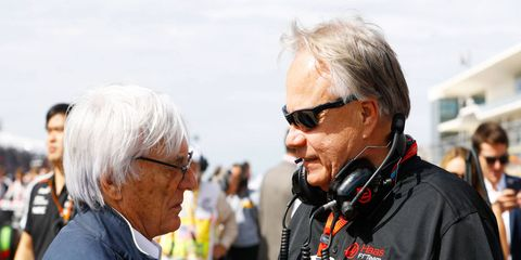 Gene Haas, right, confers with F1 boss Bernie Ecclestone last week at Circuit of The Americas.
