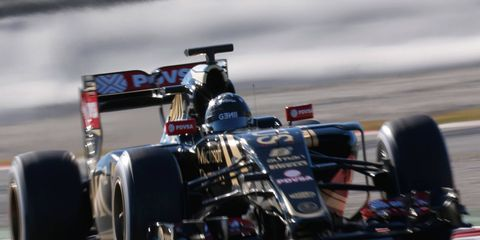 Romain Grosjean gave Lotus the top speed at Barcelona for the second day in a row on Sunday.