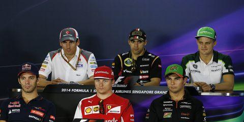 Marcus Ericsson, Pastor Maldonado, Sergio Perez, Kimi Raikkonen, Adrian Sutil and Jean-Eric Vergne all answered questions from the press.