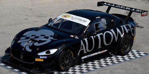 The Maserati GranTurismo MC Trofeo adorned with special Autoweek livery