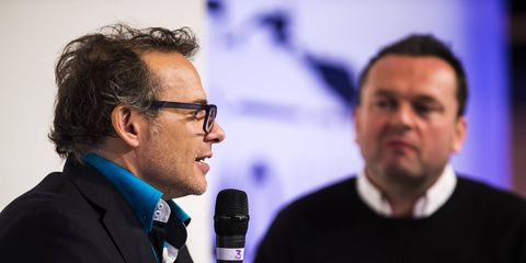 Jacques Villeneuve gets interviewed on the Autosport International stage back in January.