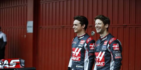 The Haas F1 drivers for 2016 include Mexican Esteban Gutierrez, left, and Frenchman Romain Grosjean, right.
